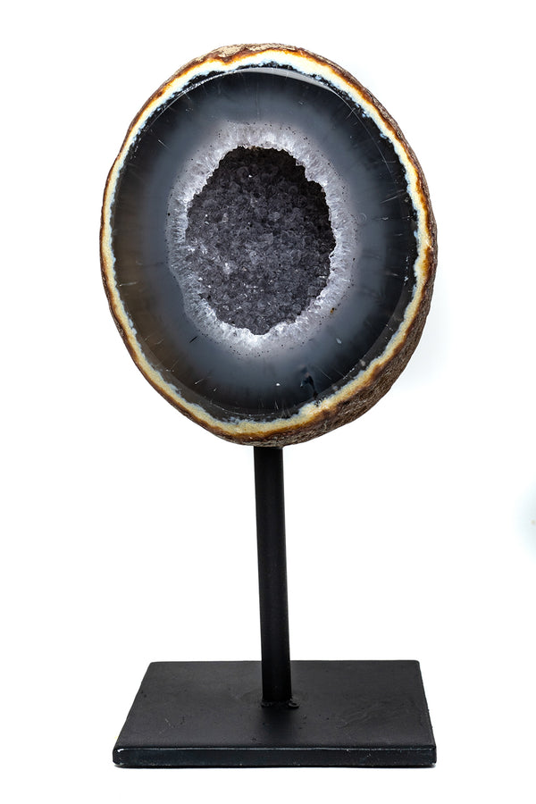 "Natural Banded Agate Geode on Metal Stand (8"") From Brazil"