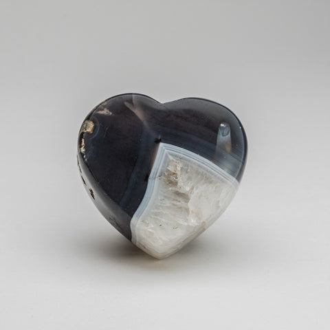 Polished Blue Agate Heart from Brazil (340 grams)