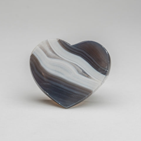 Polished Blue Agate Heart from Brazil (189.5 grams)