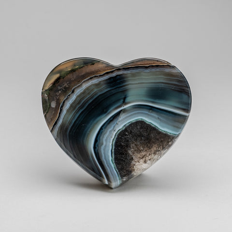 Polished Blue Agate Heart from Brazil (374.7 grams)