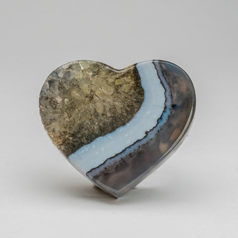 Polished Blue Agate Heart from Brazil (273.6 grams)
