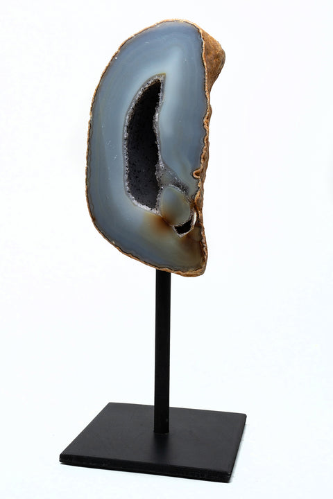 "Natural Banded Agate Quartz Geode on Metal Stand (11"") From Brazil"