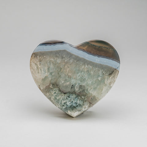 Polished Blue Agate Heart from Brazil (439 grams)