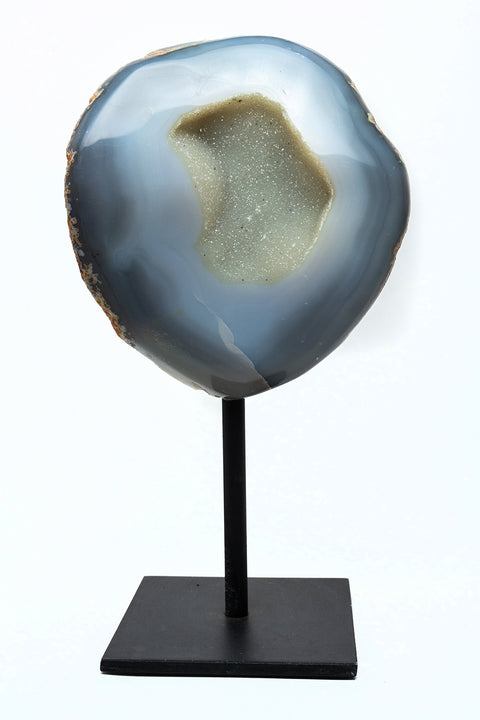 "Natural Banded Agate Quartz Geode on Metal Stand (10"") From Brazil"