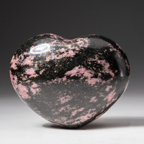 Polished Imperial Rhodonite Heart from Madagascar (400 grams)