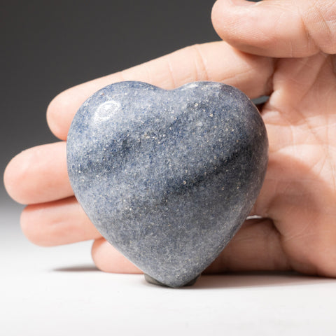 Genuine Polished Blue Quartz Heart From Madagascar