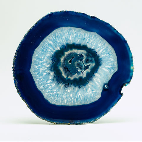 Polished Blue Brazilian Banded Agate Slice