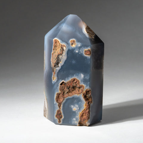 Polished Blue Agate Geode Obelisk from Brazil (1 lbs)