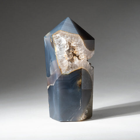 Polished Blue Agate Geode Obelisk from Brazil (1.5 lbs)