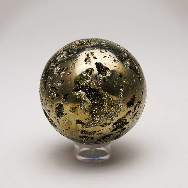 "Polished Pyrite Sphere from Peru (2.7"", 641 grams)"