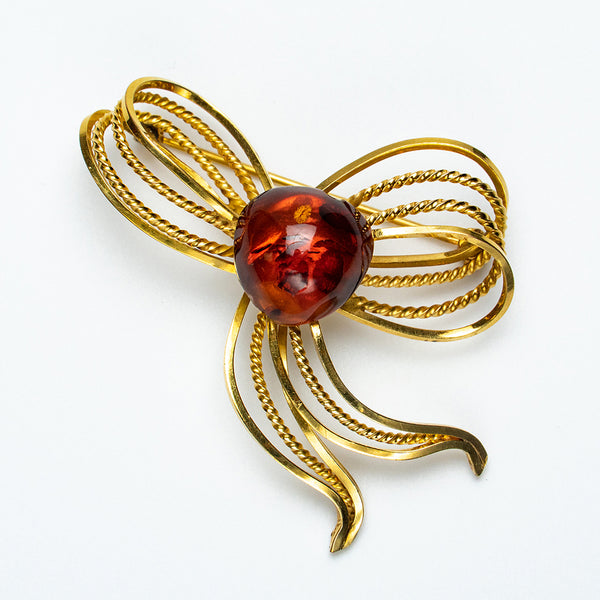 Baltic Amber Gold Filled Ribbon Brooch (69 grams)