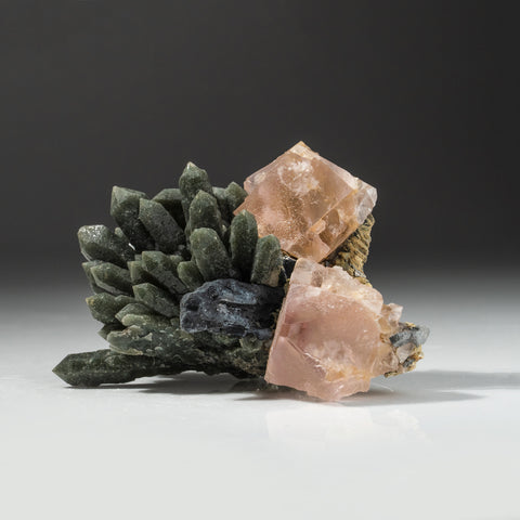Pink Fluorite with Green Quartz from Huanggang Fe-Sn deposit, Hexigten Banner, Ulanhad League, Inner Mongolia, China
