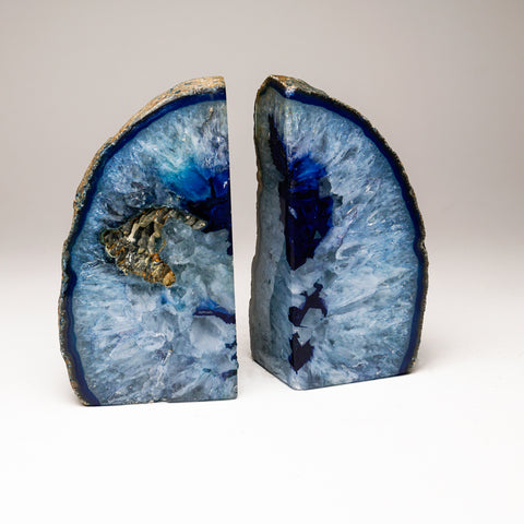 Aqua Blue Banded Agate Bookends from Brazil (3.5 lbs)