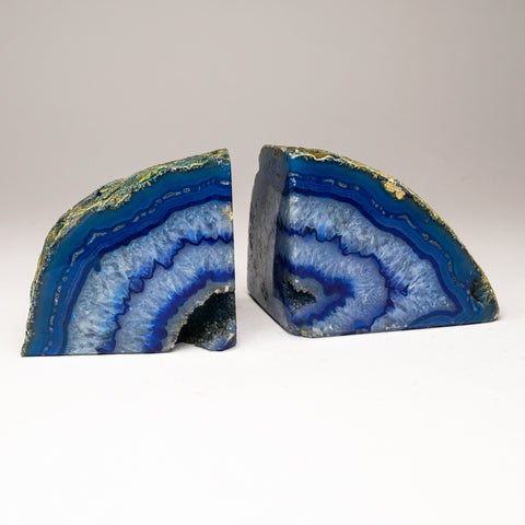 Blue Banded Agate Bookends from Brazil (4 lbs)