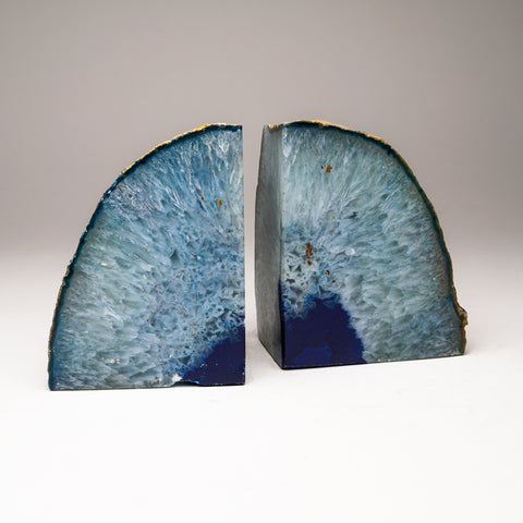 Aqua Blue Banded Agate Bookends from Brazil (4 lbs)