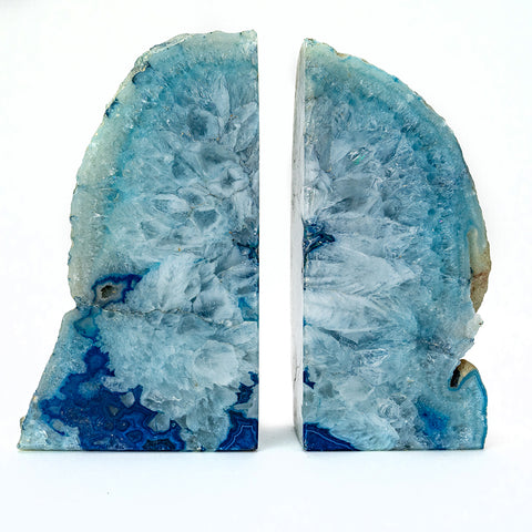 Light Blue Banded Agate Bookends (2.5 lbs) from Brazil