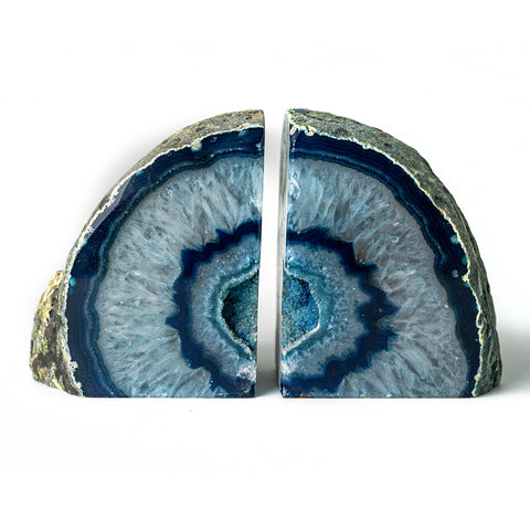 Blue Geode Agate Bookends (3 lbs) from Brazil