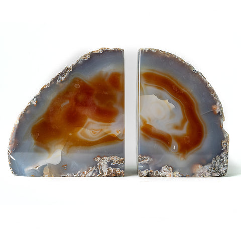 Natural Banded Agate Bookends (3 lbs) from Brazil