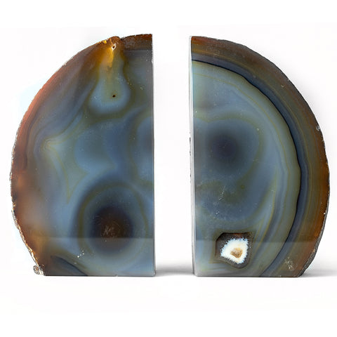 Natural Banded Agate Bookends (3.5 lbs) from Brazil