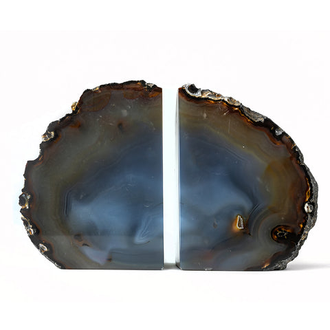 Natural with Blue Banded Agate Bookends (2.5 lbs) from Brazil