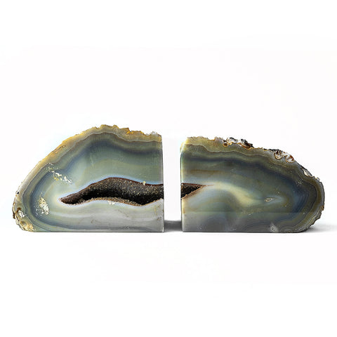 Natural with Blue Banded Agate Bookends (5.5 lbs) from Brazil