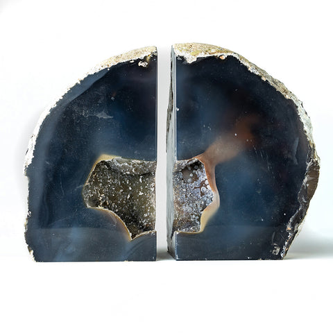 Natural Geode Banded Agate Bookends (7.5 lbs) from Brazil