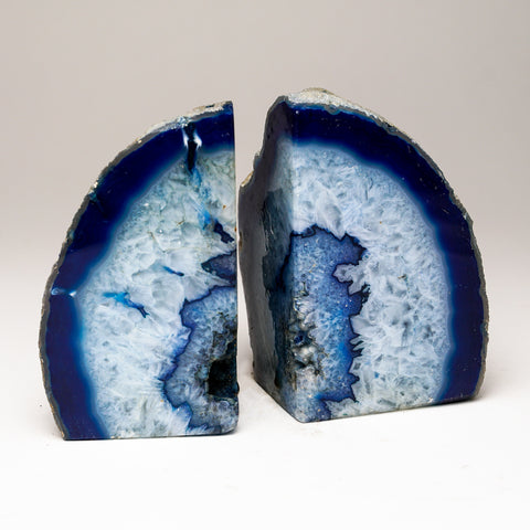 Blue with Aqua Banded Agate Bookends from Brazil (2.5 lbs)
