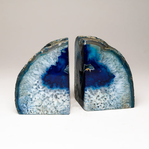 Blue with Aqua Banded Agate Bookends from Brazil (4 lbs)