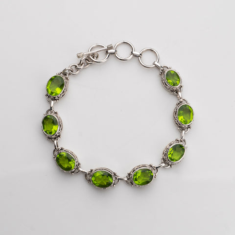 Green Quartz Sterling Silver Bracelet