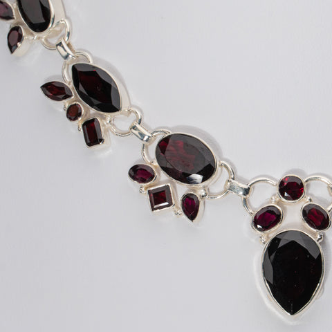 925 Sterling Silver Ruby Gemstone Necklace