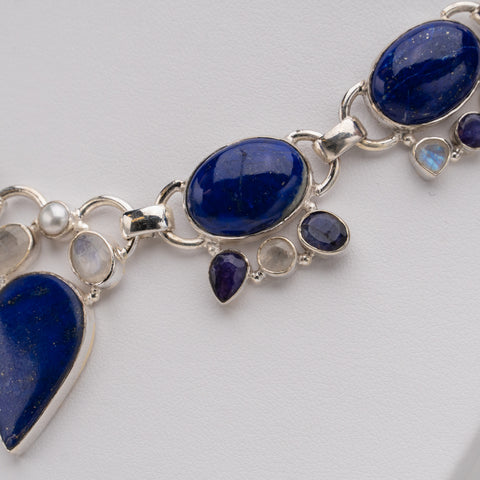 925 Sterling Silver Lapis Lazuli Gemstone Necklace
