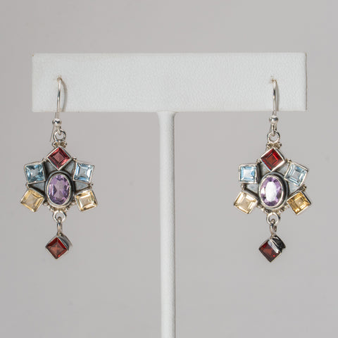 Multi Colored Gemstone Sterling Silver Earrings