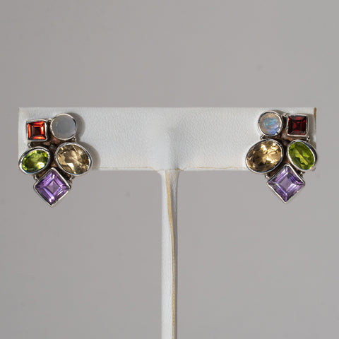 Multi Colored Gemstone Sterling Silver Stud Earrings
