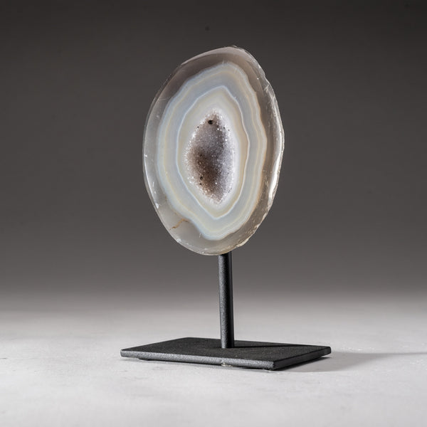 "White Banded Agate Geode on Metal Stand From Brazil (5.75"", 1.2 lbs)"