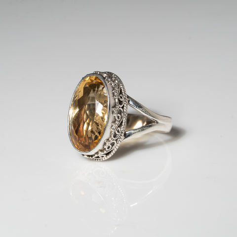 Sterling Silver Citrine Gemstone Ring (Size 8)