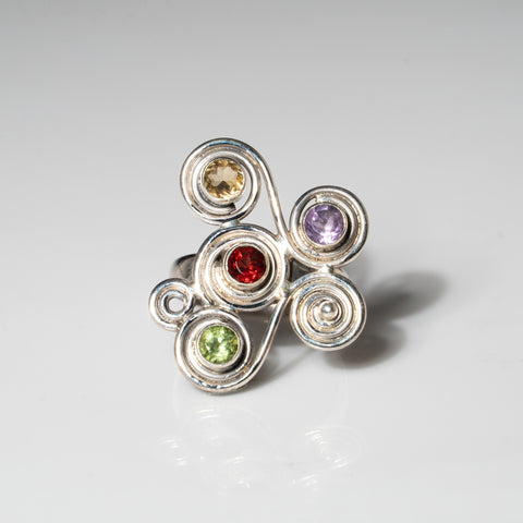 Multi Colored Gemstone Sterling Silver Ring (Size 6)