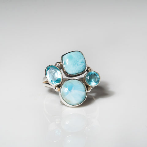 Larimar Sterling Silver Ring (Size 9)