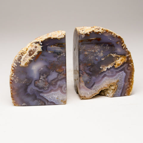 Small Purple Banded Agate Bookends from Brazil (551.6 grams)