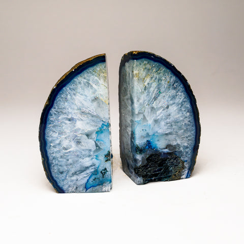 Aqua Banded Agate Bookends from Brazil (2 lbs)