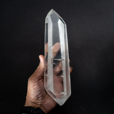 Double Terminated Natural Lemurian Quartz Crystal from Brazil (2.4 lbs)