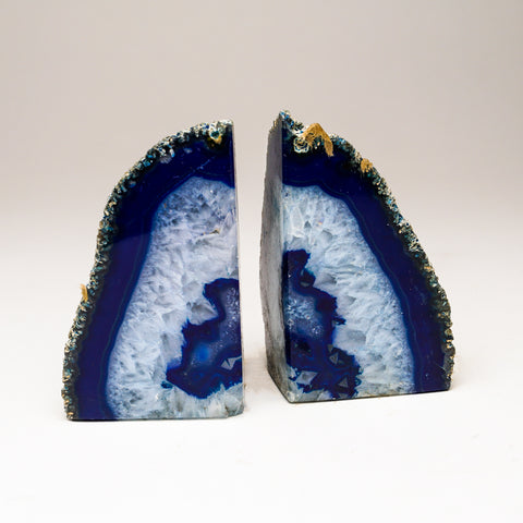Blue with Aqua Banded Agate Bookends from Brazil (1.5 lbs)