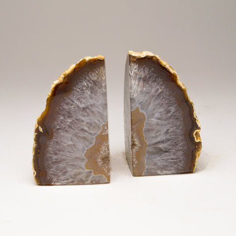 Brown with Natural Banded Agate Bookends from Brazil (1 lbs)