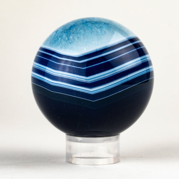 "Polished Small Blue Agate Sphere (2"" Diameter, 246.7 Grams)"