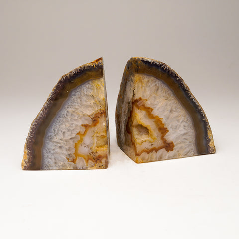 Natural Banded Agate Bookends from Brazil (2.5 lbs)