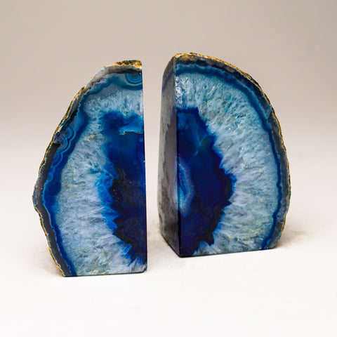 Aqua with Blue Banded Agate Bookends from Brazil (1.5 lbs)