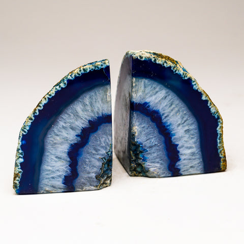 Blue with Aqua Banded Agate Bookends from Brazil (1 lb)
