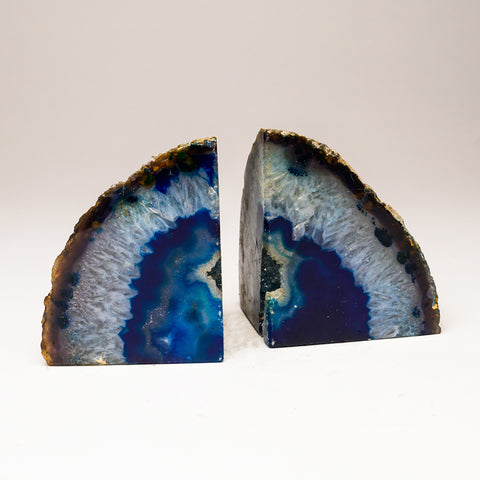 Dark Blue And Aqua Banded Agate Bookends from Brazil (2 lbs)