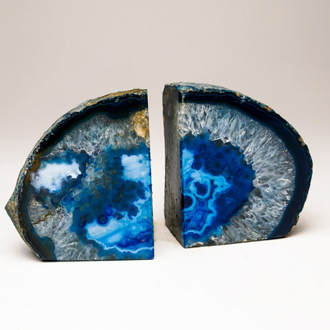 Blue Banded Agate Bookends from Brazil (2.5 lbs)