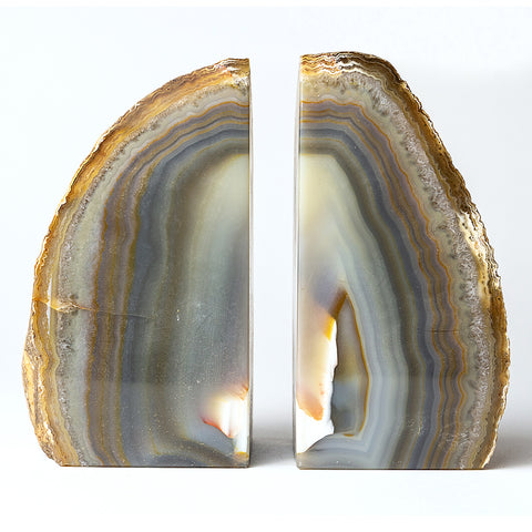 Natural Banded Agate Bookends (4 lbs) from Brazil