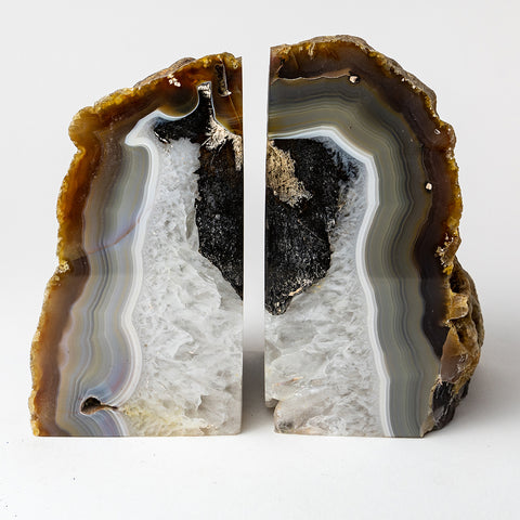 Natural Banded Agate Bookends (7 lbs) from Brazil